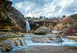 Фотография Испания Водопады Камень Утес La Portellada