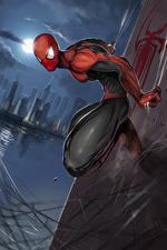 Фотографии Человек паук герой Герои комиксов Ночные Фантастика