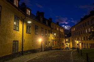 Фото Стокгольм Швеция Здания Улица Ночные Уличные фонари Города