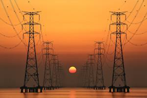 Фото Рассветы и закаты ЛЭП Солнце