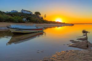 Фотография Рассветы и закаты Речка Берег Лодки