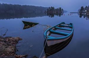 Фотография Швеция Озеро Лодки Туман Природа