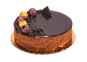 Фото Сладости Торты Шоколад Белый фон Еда