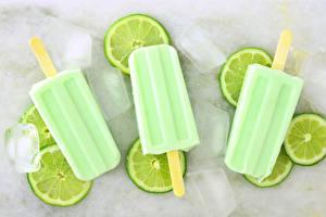 Обои Сладости Мороженое Лайм Втроем Лед