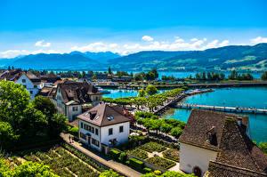Фотография Швейцария Здания Озеро Пирсы Rapperswil