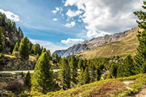 Обои Швейцария Горы Небо Пейзаж Альпы Ель Облака Природа