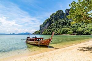 Картинка Таиланд Тропики Берег Лодки