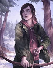 Фото The Last of Us Лучники Лук оружие Фан АРТ Ellie Девушки