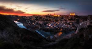 Обои Толедо Испания Дома Реки Ночь Города картинки