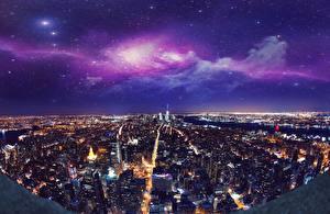 Картинка Штаты Дома Нью-Йорк Ночные Мегаполиса Сверху Города