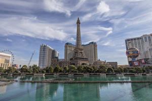 Фотография Штаты Здания Пруд Небо Лас-Вегас Эйфелева башня