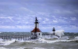 Картинка Штаты Маяки Волны Море Небо Флорида Saint Joe Lighthouse Природа