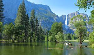 Обои США Парк Горы Озеро Йосемити Деревья Природа