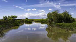 Фотография США Реки Небо Калифорния Облака Los Banos Природа