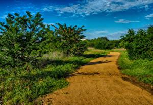 Фотография Штаты Дороги Небо Техас Природа