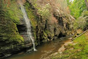 Фото Штаты Водопады Скала Мох Nantahala National Forest North Carolin Природа