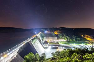Обои США Водопады Небо Звезды Ночь Плотина Лучи света Norris Dam State Park Tennessee