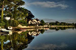 Обои Великобритания Побережье Дома Лодки Saltash Cornwall Города картинки
