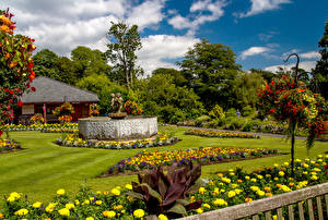 Картинки Великобритания Сады Газон Swansea Botanic Gardens Wales