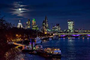 Фотография Великобритания Реки Дома Мосты Пирсы Небо Речные суда Лондон Луна Blackfriars Bridge город