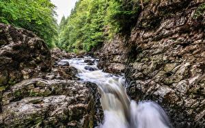 Фото Великобритания Водопады Утес Ручей Betws-y-Coed Wales