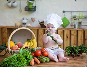 Картинка Овощи Фрукты Томаты Младенца Шапка Повары Дети