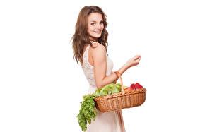 Картинки Овощи Улыбка Белый фон Корзина Шатенка Девушки