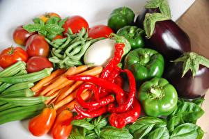 Картинки Овощи Томаты Перец Морковь Пища