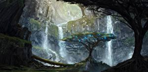 Фотография Водопады Деревья Фантастика