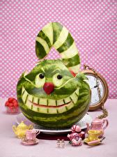 Фотография Арбузы Коты Чайник Дизайн Чашка Cheshire Cat Пища