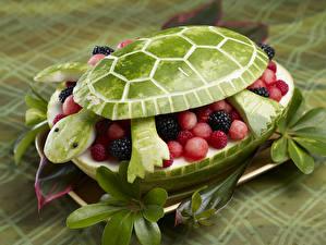 Обои Арбузы Черепахи Малина Ежевика Дизайн Продукты питания