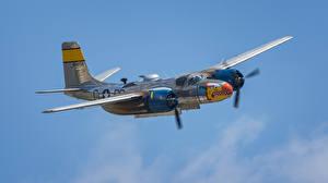 Фотографии Самолеты Бомбардировщик Американские Летит A-26, Invader, Douglas Авиация