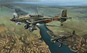 Фотографии Самолеты Рисованные Немецкий Junkers Ju.87 Stuka