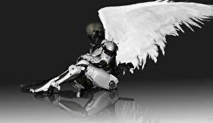Обои Ангелы Metal Gear Доспехи Крылья Киборг Rising: Revengeance, White Devil, Jack the Ripper, Raiden Игры Фэнтези