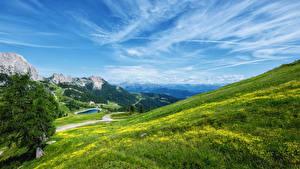 Картинка Австрия Пейзаж Горы Озеро Луга Небо Oben Природа