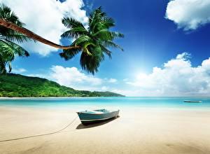 Обои Лодки Тропики Небо Пляж Пальмы Природа