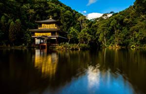 Картинка Бразилия Храмы Озеро Деревья Templo Kinkaku-Ji Природа