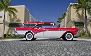 Картинки Бьюик Ретро Сбоку 1957 Century Caballero Estate Wagon Автомобили