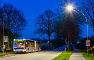 Фотографии Автобус Дороги Ночь