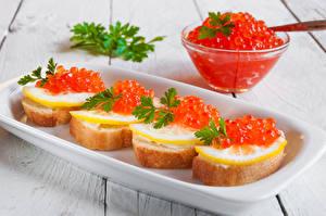 Картинка Бутерброды Морепродукты Икра Лимоны