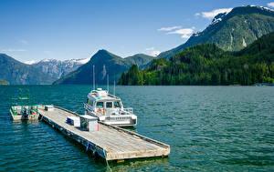 Картинка Канада Озеро Пристань Горы Катера British Columbia Природа