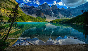 Фотографии Канада Парки Озеро Горы Лес Пейзаж Банф Lake Moraine