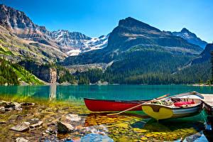 Обои для рабочего стола Канада Парки Гора Озеро Лодки Камни Пейзаж Yoho National Park Lake O`Hara Природа