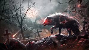 Картинки Кладбище Волки Готические Крест Кровь by Mr-Ripley Фантастика