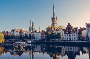 Обои Берег Здания Германия Lübeck Города
