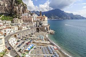 Картинки Побережье Дома Италия Амальфи Пляж Atrani, Salerno город