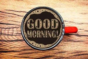 Фотографии Кофе Чашка Английский Слово - Надпись Good Morning Пища