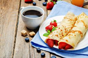 Обои Кофе Блины Клубника Чашка Завтрак Пища