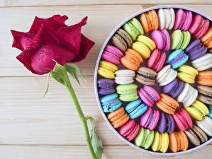 Фото Печенье Розы Макарон Разноцветные Пища