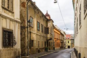 Картинки Хорватия Загреб Здания Улица Уличные фонари Города